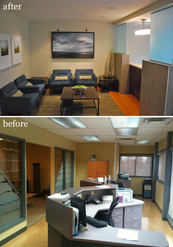 Dental clinic before and after by Inoui Design Collective as featured on the Hatch Blog - as featured on the Hatch Blog - ATTRACT NEW BUSINESS DURING A RECESSION