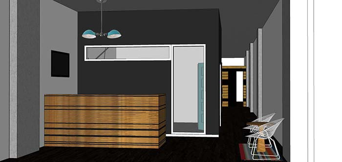 Reception concept rendering for Urban Jungle Edmonton by Hatch Interior Design