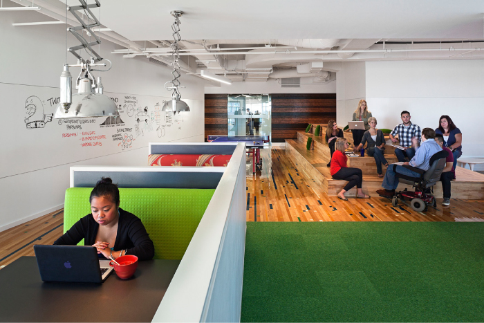 high-tech corporate office interior design, 22squared office by Gensler