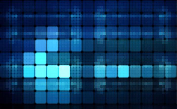 high-tech corporate interior design, blue pixels