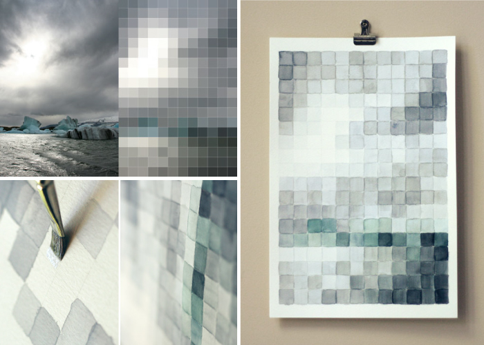 high-tech corporate interior design, pixel painting