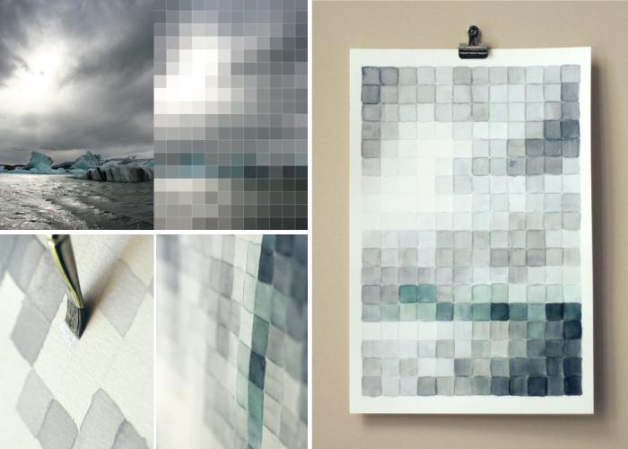 high-tech corporate interior design, pixel painting