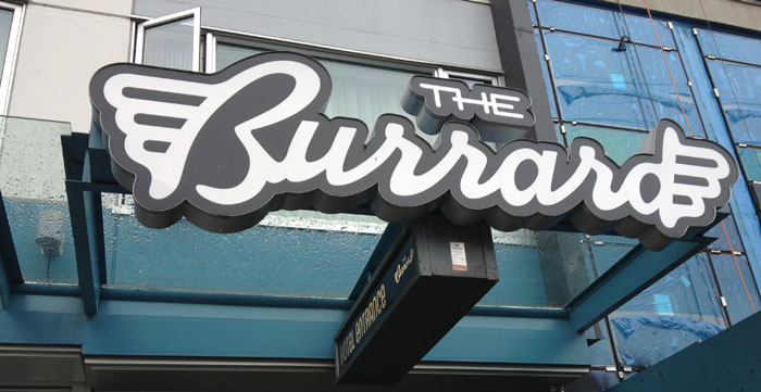 The sign for The Burrard hotel in Vancouver.