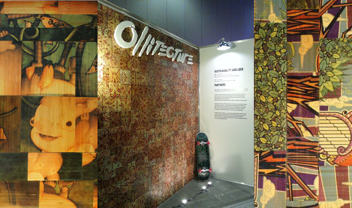 Upcycled skateboard wall panels by Olli at IDSWest 2013.