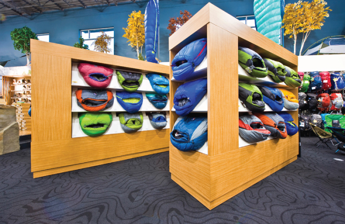 Interior Design Process - Grouse River sleeping bag display by Hatch Interior Design