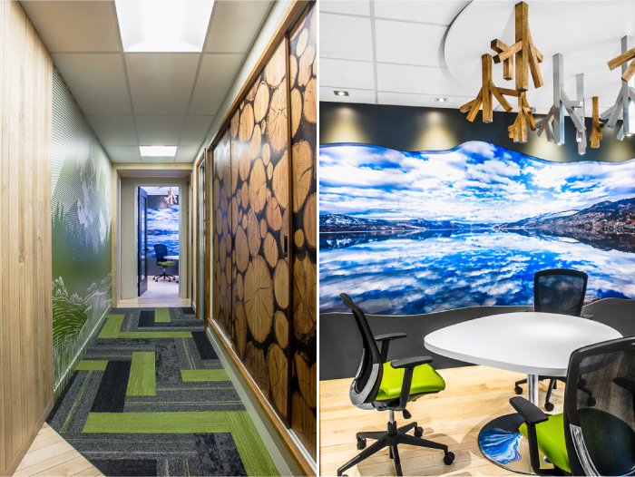 Grouse River offices interior design - Corridor and Breakout Room, Hatch Interior Design