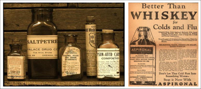 Apothecary Bottles and Ad -Lakeside Pharmacy Design Concept_Hatch Interior Design Blog