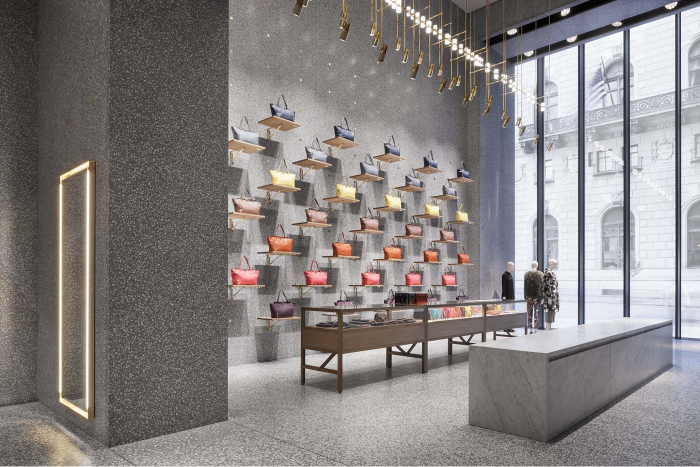 David Chipperfield Architects Did A Great Job Of The Lighting Design In This Valentino Store New York Each Purse Is Highlighted And Casts Interesting